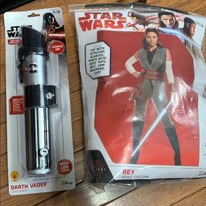 NWT Star Wars Rey Halloween Costume w/Lightsaber